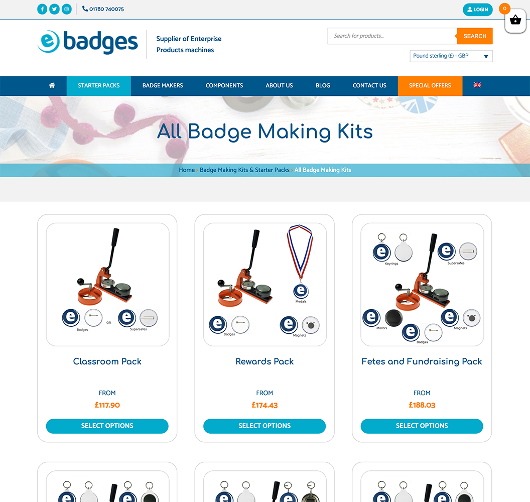 E Badges Category Page