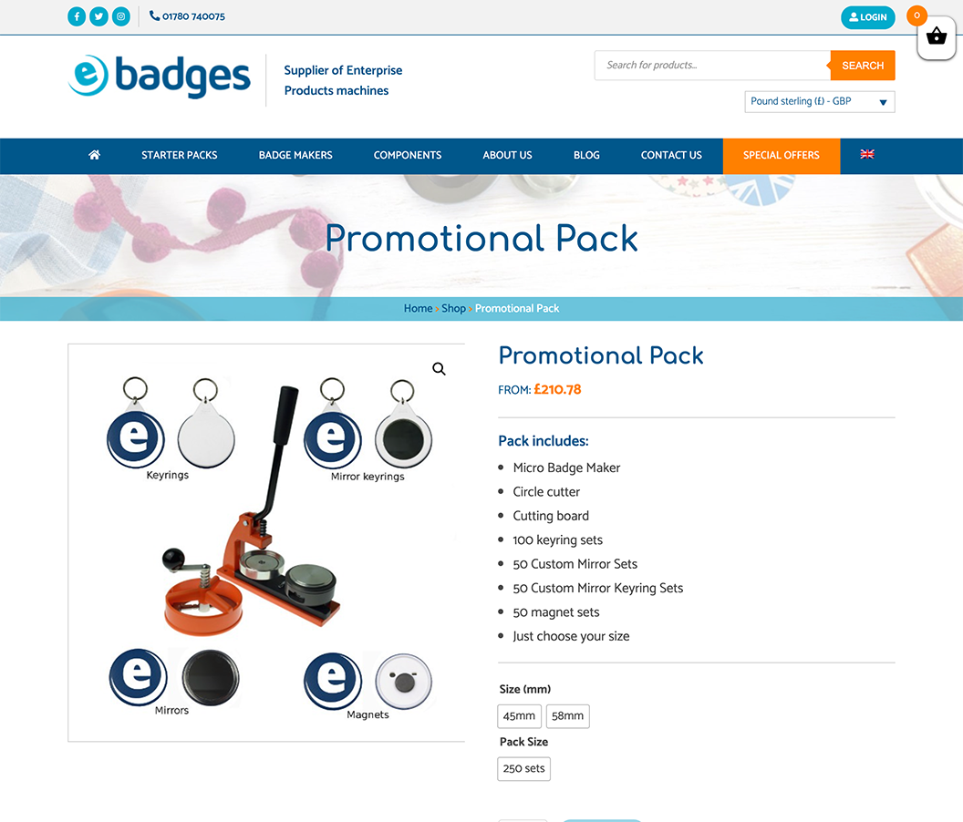 E Badges Product Page